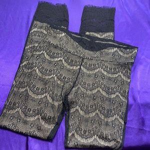 👉 Petrol Rare Unique Vintage Lace Pants w/ Fray